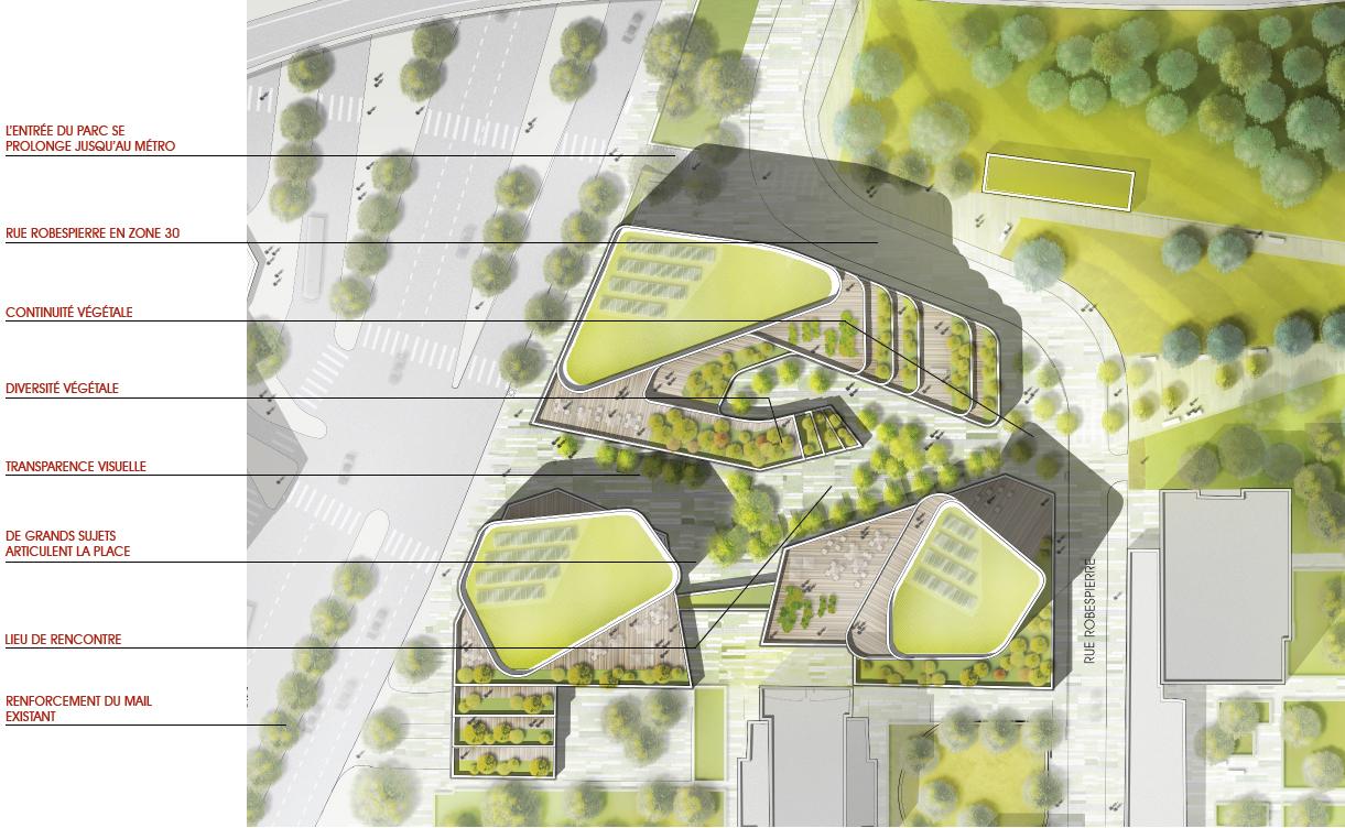 Concours bagnolet lobjoy bouvier architectes et wild for Plan masse architecture